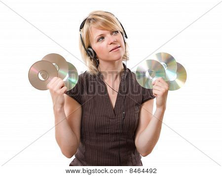 woman holding cds