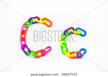 C And C Alphabet, Created By Colorful Plastic Chain