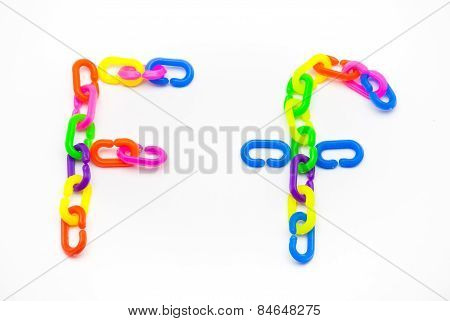 F And F Alphabet, Created By Colorful Plastic Chain