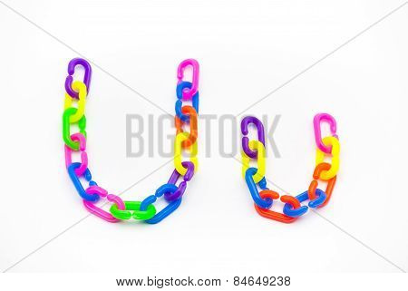 U And U Alphabet, Created By Colorful Plastic Chain