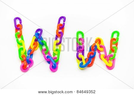 W And W Alphabet, Created By Colorful Plastic Chain