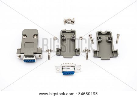 RS-232 Connector Assembly , isolated on white. poster