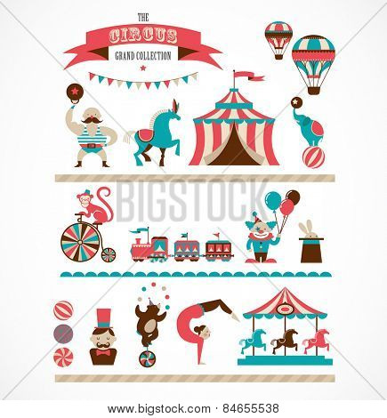 vintage hipster circus collection with carnival, fun fair, vector icons and background and illustration poster