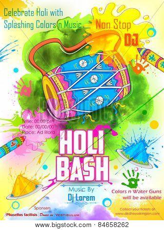 illustration of DJ party banner for Holi celebration