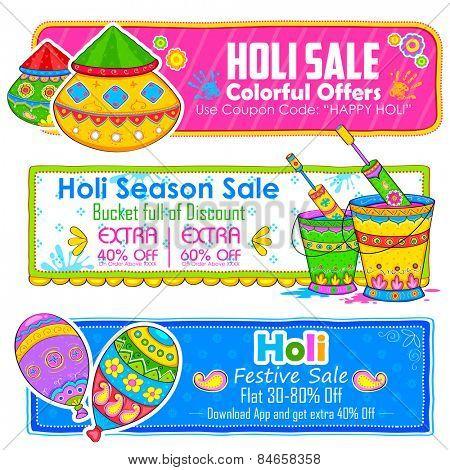 illustration of Holi banner for sale and promotion poster
