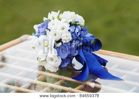 Beautiful wedding bouquet of hydrangea, eucharis and eustoma flowers