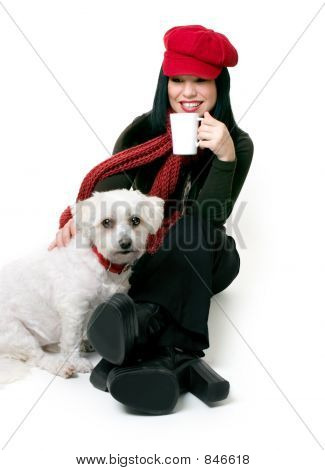 A female adult relaxes with a maltese terrier pet. poster