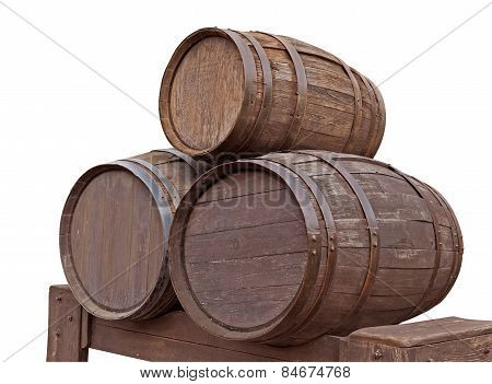 Wooden Barrels Isolated