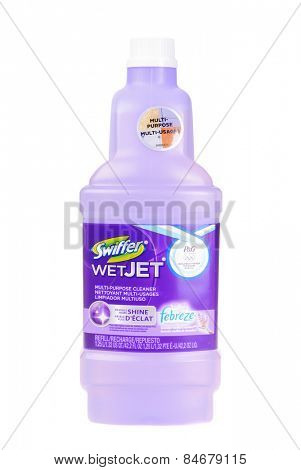 Hayward, CA - February 23, 2015: 1.25 liter bottle of Swiffer WetJet multi-purpose  cleaner -Illustrative Editorial