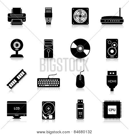 Computer Parts Icons Black