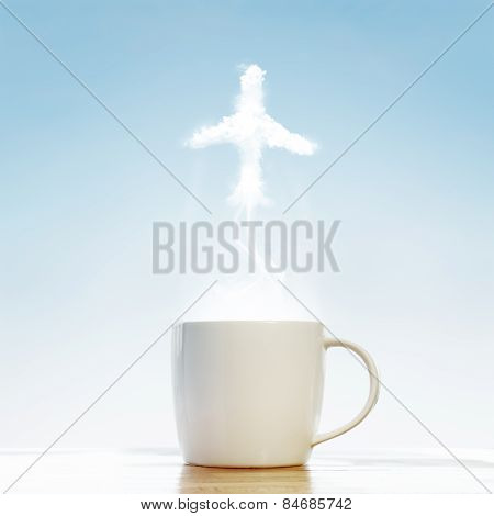 Coffee Cup With Airplane Symbol