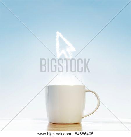 Coffee Cup With Arrow Cursor Symbol