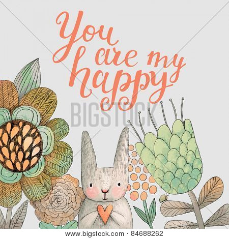 Staggering card with cute rabbit in summer flowers. Awesome background made in watercolor technique. Bright easter concept card with you are my happy text in vector