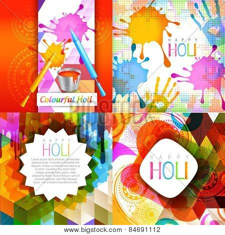vector set of colorful holi design with pichkari splashes , paint bucket and colorful hand