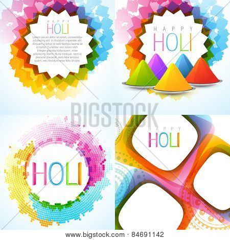 vector colorful holi background set with rang of gulal