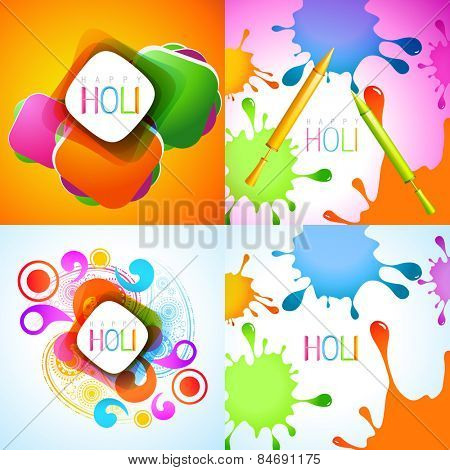 vector set of holi background with colorful splashes and pichkari