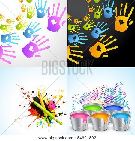vector set of holi background illustration with pichkari , hand and bucket illustration