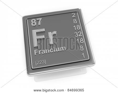 Francium. Chemical element. 3d poster