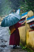 Buddhist monk with umbrella spinning prayer wheels on kora around Tsuglagkhang complex in McLeod Ganj, Himachal Pradesh, India poster