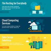 Public cloud protected data exchange environment file hosting service flat horizontal banners set abstract isolated vector illustration poster