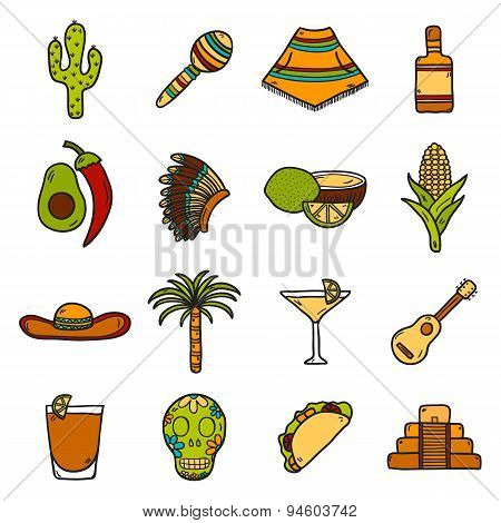 Vector card with cute hand drawn objects on Mexico theme