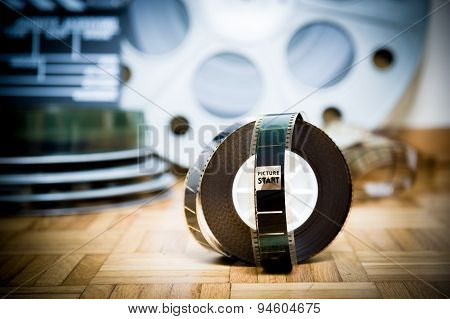 Cinema Movie Filmstrip With Picture Start Frame And Other Movie Objects