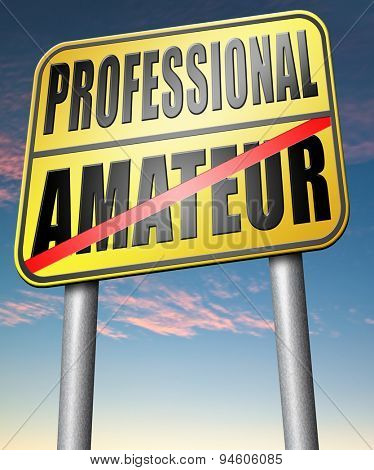 professional amateur expert novice or beginner skilled specialist or rookie road sign
