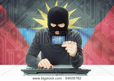 Concept Of Cybercrime With National Flag On Background - Antigua And Barbuda