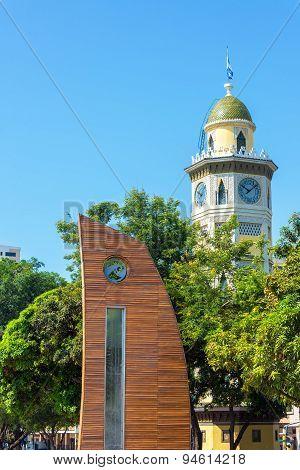 Sculpture And Moorish Clock Tower