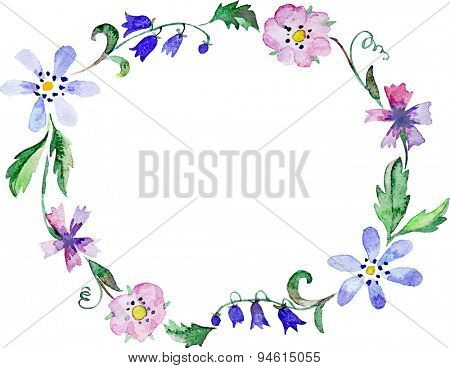 vector floral watercolor wreath or frame
