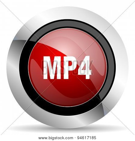 mp4 red glossy web icon original modern design for web and mobile app on white background