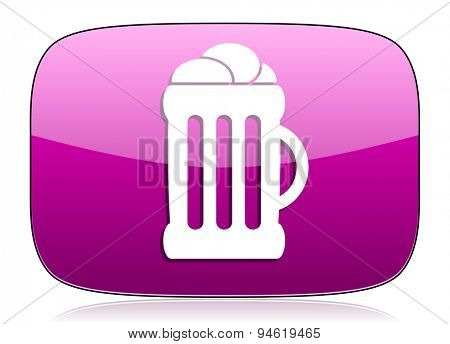 beer violet icon mug sign original modern design for web and mobile app on white background with reflection