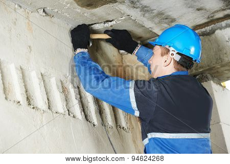 electrician engineer works with cables at distribution boxes in electric network