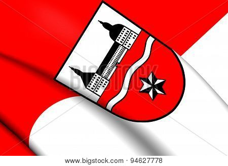 3D Flag of the Gotha District Germany. Close Up. poster