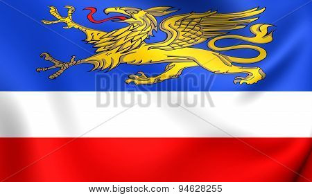 Flag Of Rostock, Germany.