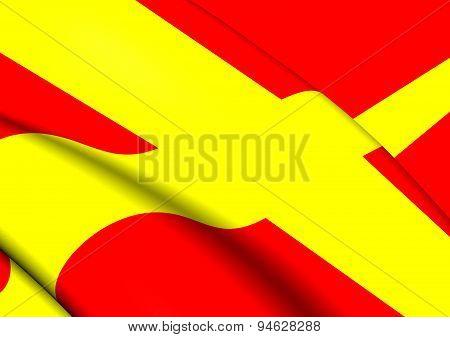 Flag Of Skane, Sweden.