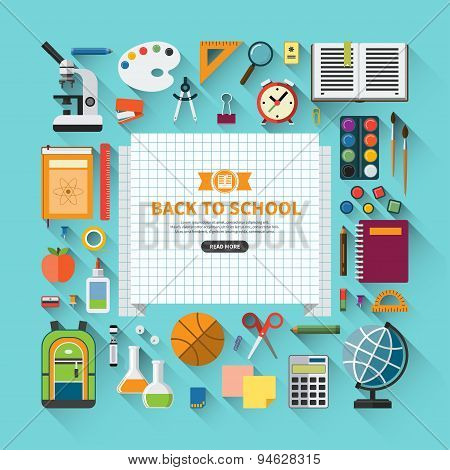 Back to school flat design modern vector background