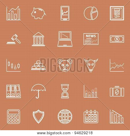 Stock Market Line Icons On Brown Background