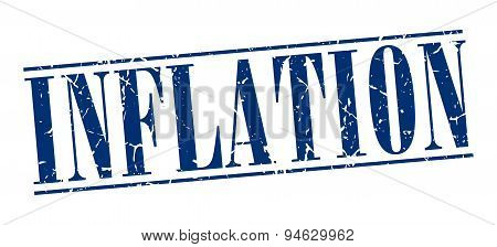 Inflation Blue Grunge Vintage Stamp Isolated On White Background