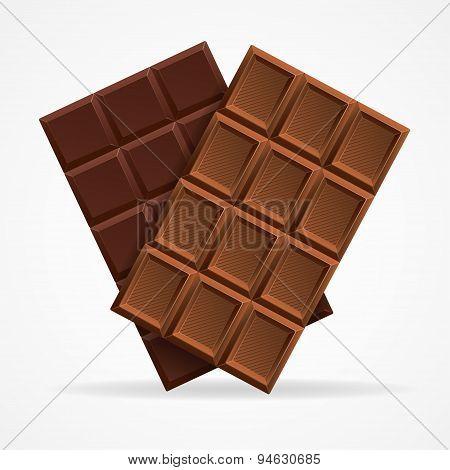 Vector Dark and Milk Chocolate Bar