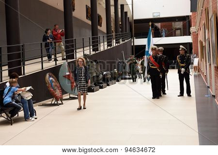 ST. PETERSBURG, RUSSIA - JUNE 24, 2015: Standard-bearers before the opening ceremony of the exhibition