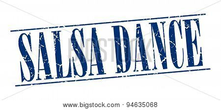 Salsa Dance Blue Grunge Vintage Stamp Isolated On White Background