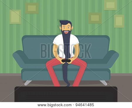 Happy gamer sitting at home and playing video games over time poster
