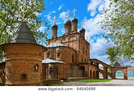 Cathedral on the historic street in Moscow Russia - Krutitskoe Compound poster