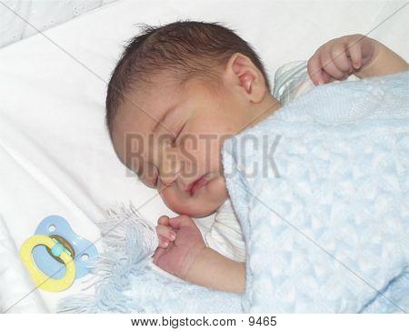 Newborn boy sleeping in craddle. poster