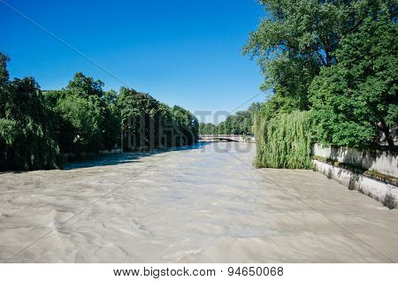 Flood - Overflow Of Water Of The Isar River In The Center Of Munich, Germany