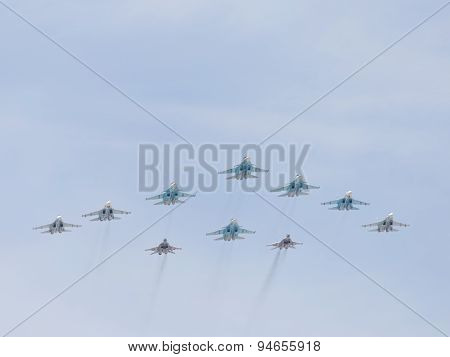 Mig-29 And Sukhoi Flying Across The Sky