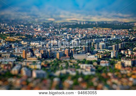 Top view from Vodno mountain on Skopje city in Macedonia poster