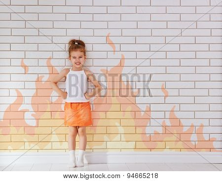angry child on the wall background