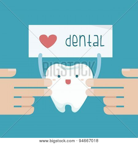 Hand touch the tooth that show love dental of text
